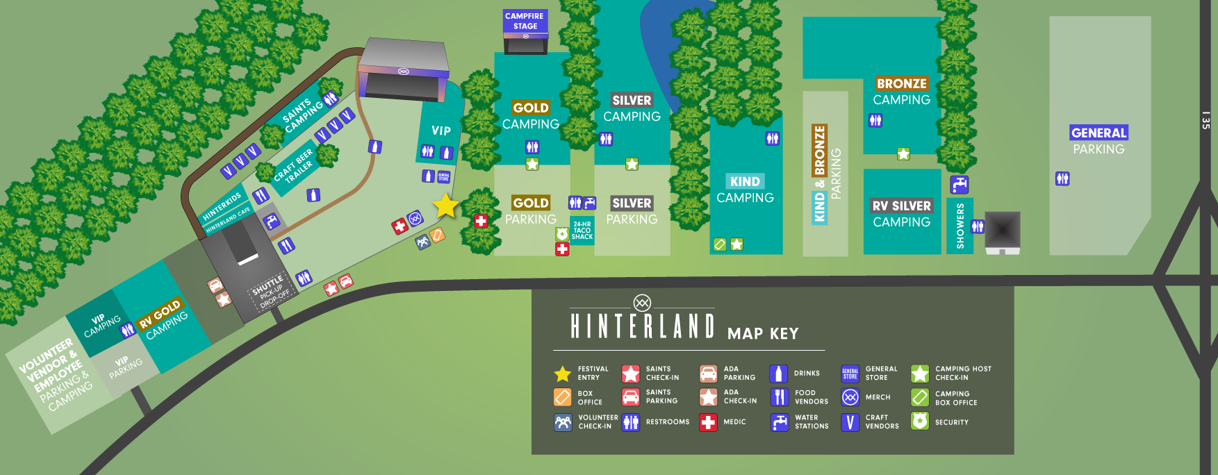 Hinterland Music Festival map